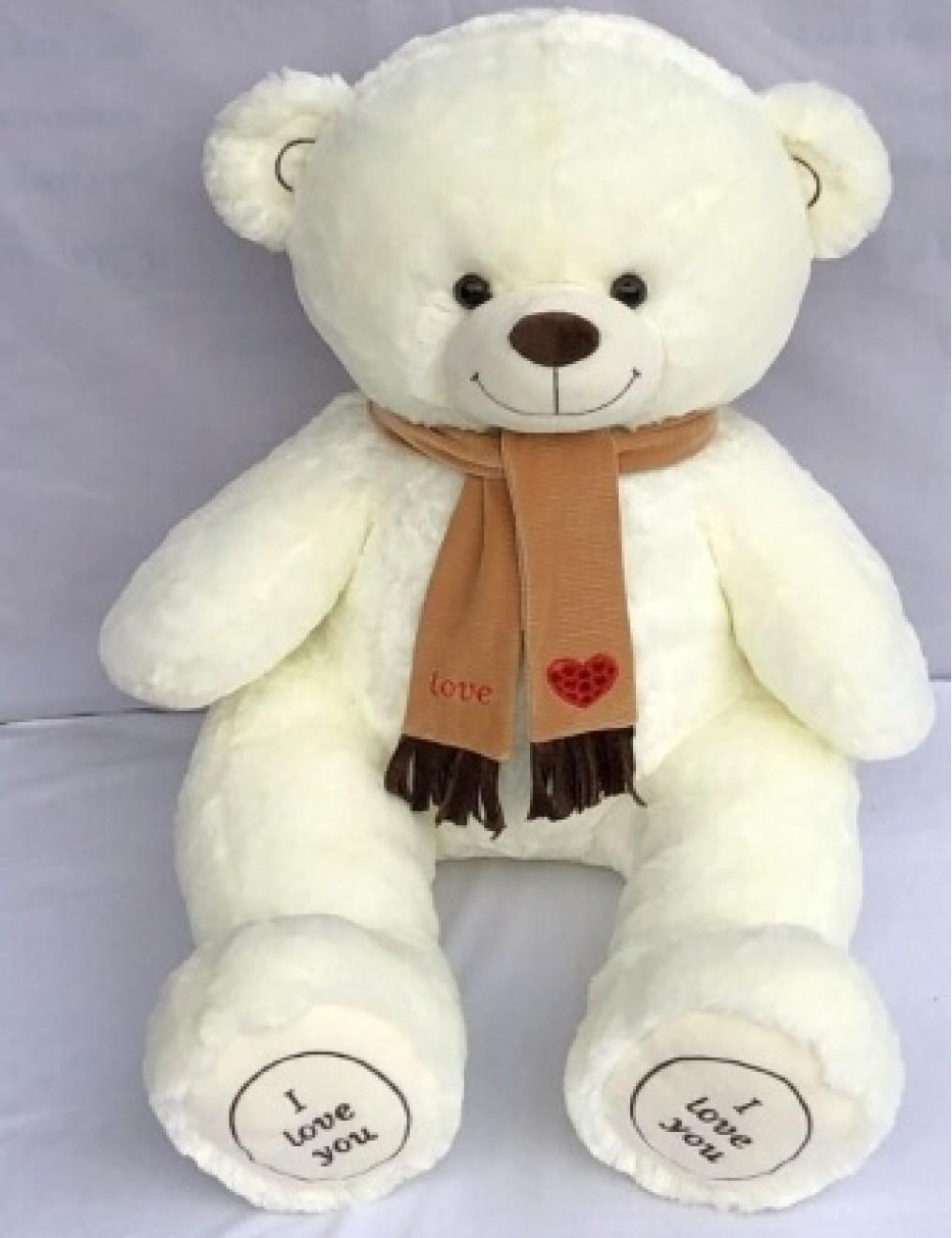 Мишка i love you в шарфике 150 см Белый