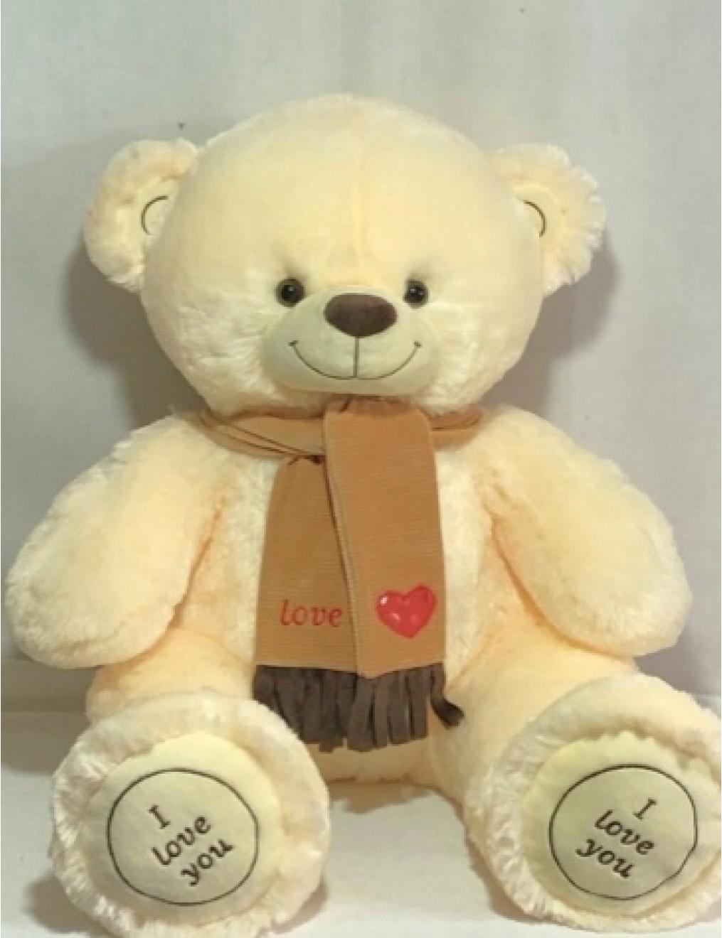 Мишка i love you в шарфике 115 см Молочно-Розовый