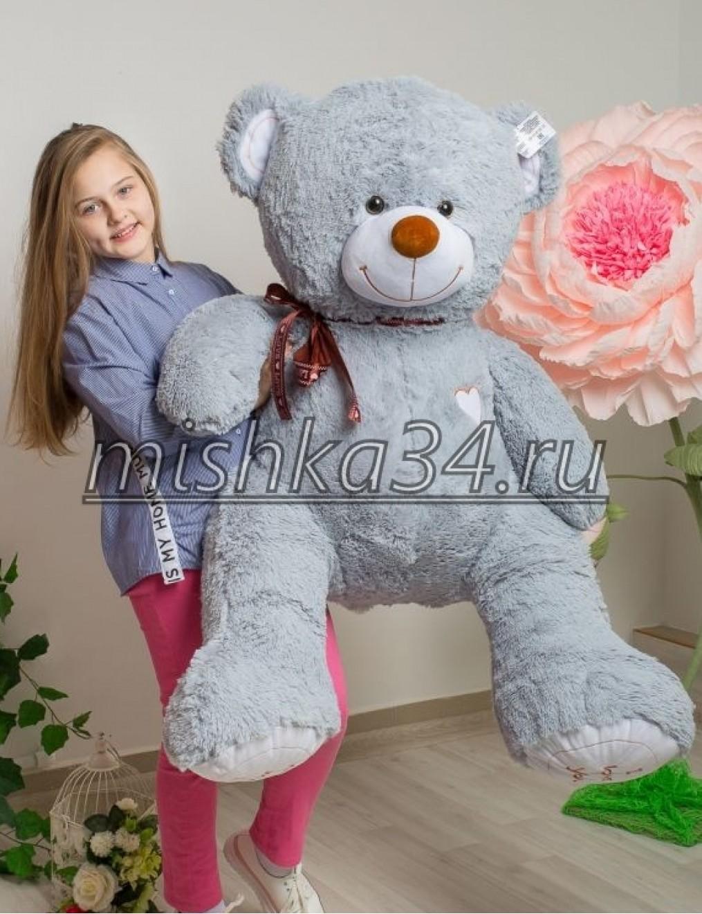 Мишка i love you 150 cм Серый