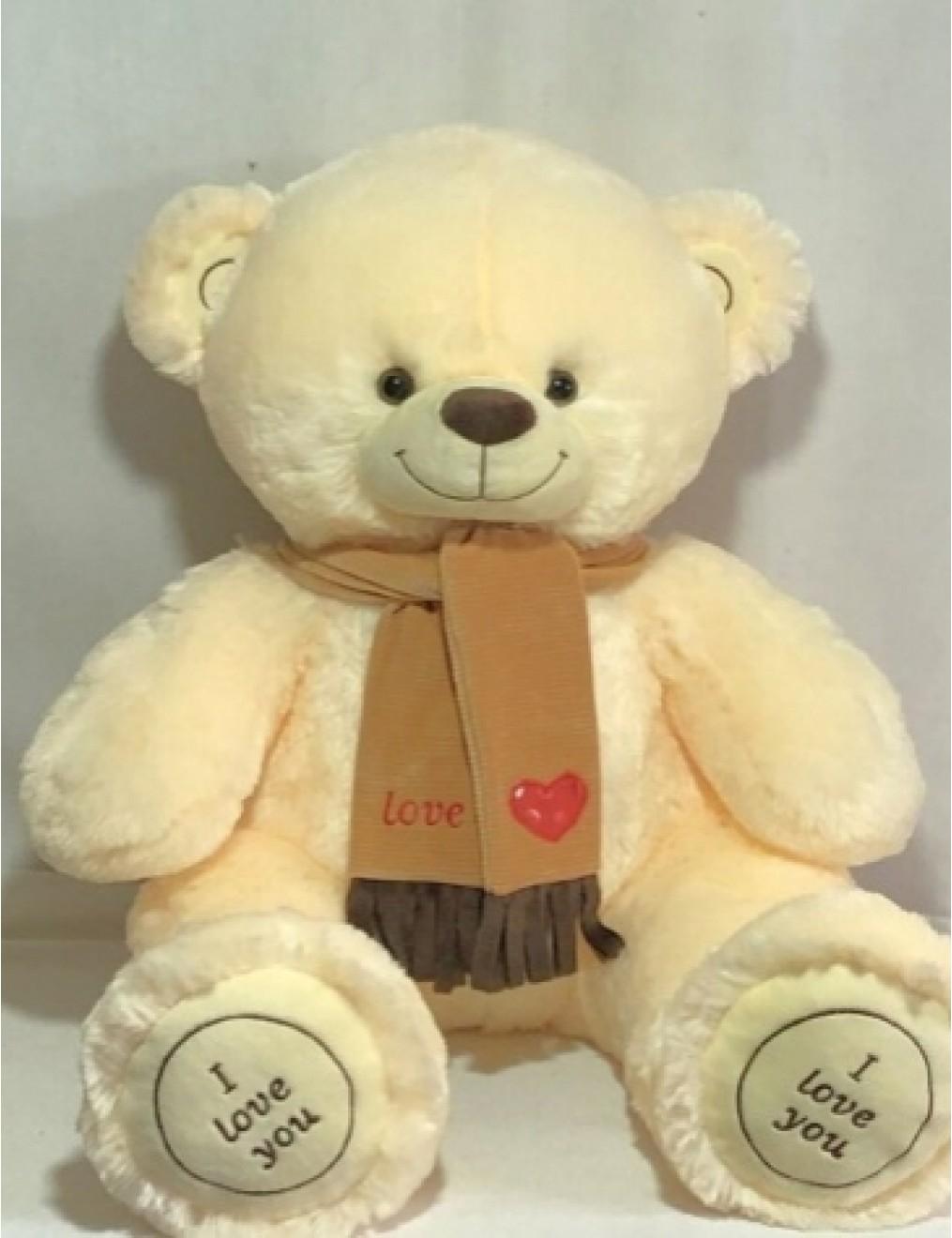 Мишка i love you в шарфике 150 см Молочно-Розовый
